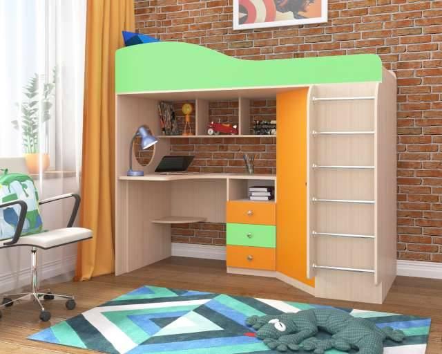 Кровать чердак Кадет 1 с металлической лестницей Ярофф